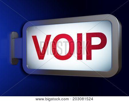 Web design concept: VOIP on advertising billboard background, 3D rendering