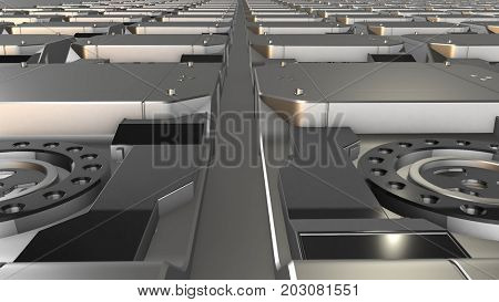 Abstract high technology metallic elements field. Engineering, industry, science and technology background. 3D rendering.