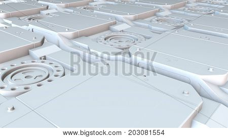Abstract high technology white plastic elements field. Engineering, industry, science and technology motion background. 3D rendering.