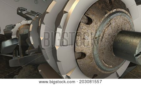 Abstract scrap metal concept composition. Fantasy photo realistic technology and engineering background. Depth of field settings. 3D rendering.