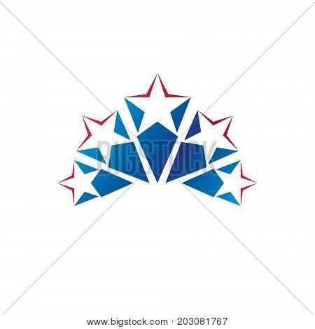 5 stars emblem ranking symbol. Heraldic Coat of Arms decorative logo isolated vector illustration.