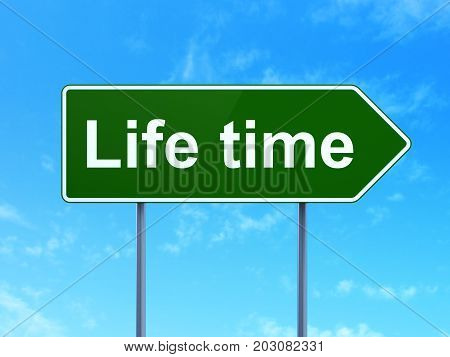 Time concept: Life Time on green road highway sign, clear blue sky background, 3D rendering
