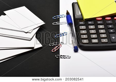 Office Tools On Black And White Background As Business Concept