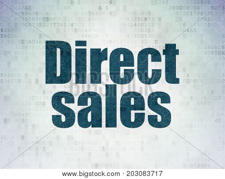 Marketing concept: Painted blue word Direct Sales on Digital Data Paper background