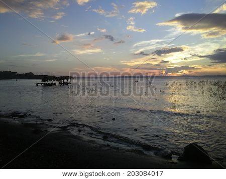 A Beautiful Sunset at Isla Ometepe - Ometep Island -  Nicaragua.
