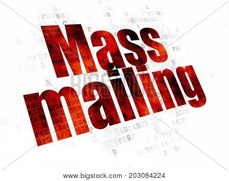 Marketing concept: Pixelated red text Mass Mailing on Digital background