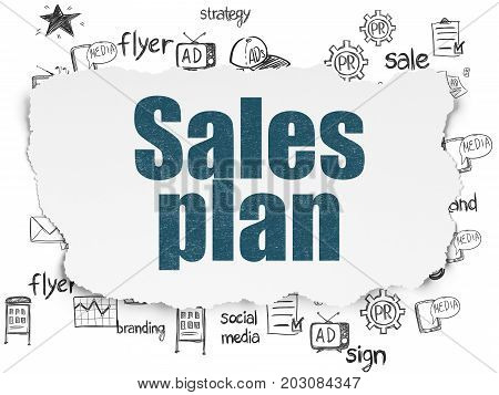 Marketing concept: Painted blue text Sales Plan on Torn Paper background with  Hand Drawn Marketing Icons