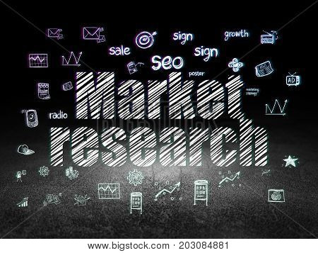 Advertising concept: Glowing text Market Research,  Hand Drawn Marketing Icons in grunge dark room with Dirty Floor, black background