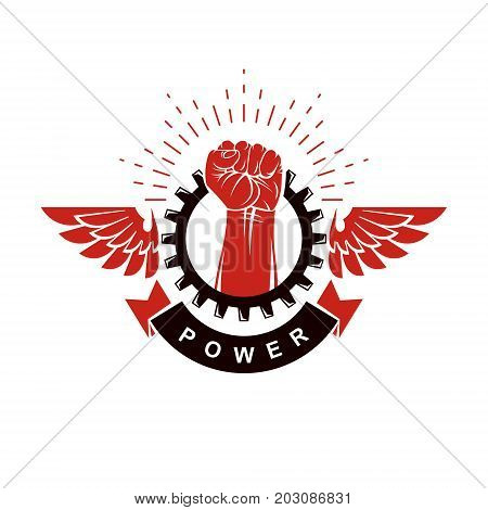 Raised strong clenched fist surrounded with industry gear winged logo. Power and authority conceptual illustration.