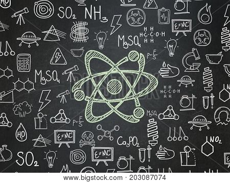 Science concept: Chalk Green Molecule icon on School board background with  Hand Drawn Science Icons, School Board
