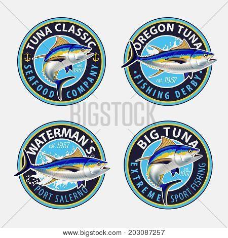 Tuna Colorful Fishing Design Logos. Vector Illustration