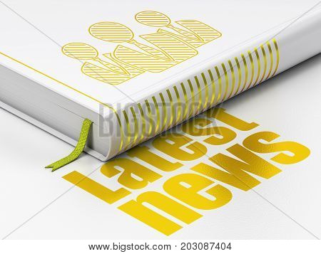 News concept: closed book with Gold Business People icon and text Latest News on floor, white background, 3D rendering