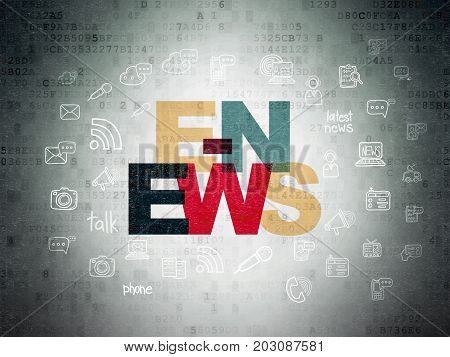 News concept: Painted multicolor text E-news on Digital Data Paper background with  Hand Drawn News Icons