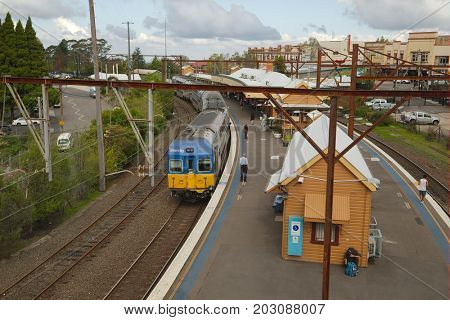 KATOOMBA, AUSTRALIA - APRIL 4, 2014: Train station of Katoomba in the Blue Mountains, Australia. It's the main pont for reaching the Blue Mountains.