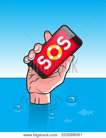 Drowning man with Smartphone in Hand with SOS signal on screen