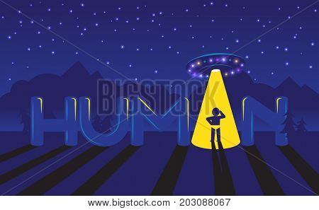Human logo. Confused man in ray of light of Ufo