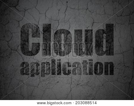 Cloud networking concept: Black Cloud Application on grunge textured concrete wall background