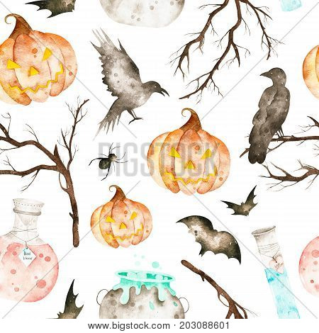 This halloween seamless pattern included magic cauldron,potion bottles,bats,ravens,spider,branches and crazy pumpkin.