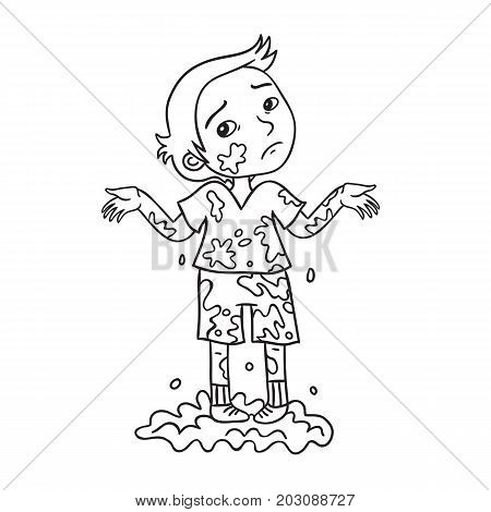 Little boy playing in dirty mud cartoon illustration. The boy is very sorry that he got dirty.