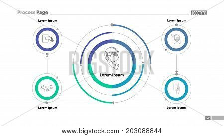 Cycled flow chart slide template. Element of diagram, infographic, flowchart. Concept for presentation, slide template, annual report. Can be used for topics like business, trade, partnership