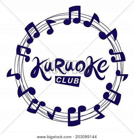 Karaoke club vector background composed with circular musical notes sheet. Can be used as nightlife entertainment concept for advertising poster.