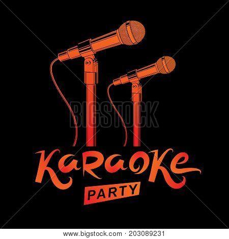 Karaoke party promotion poster design. Rap battle concept two stage microphones vector illustration.