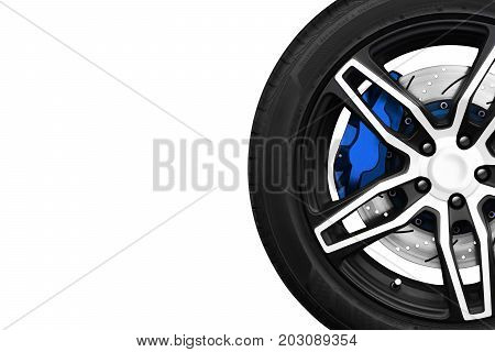 Alloy wheels of racing car with metal brake discs and blue caliper on a white colored background with copy space your writing text on the left. Automotive parts concept.