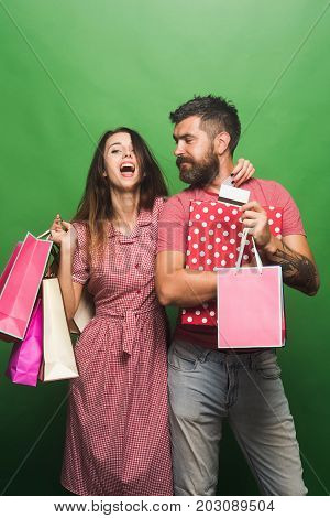 Couple In Love Hugs, Holding Big Box, Shopping Bags