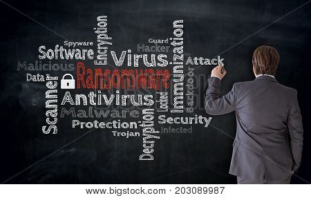 Businessman Writes Ransomware Cloud On Blackboard Concept