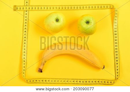 Emoticon Made Of Apples In Green Color And Banana