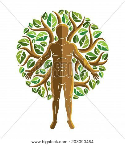 Vector graphic illustration of strong male body silhouette standing on white background and made using green leaves. Eco friendly living human and nature harmony concept.