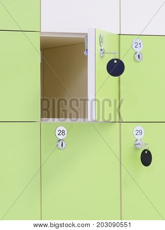 Box of a locker room in fitness club
