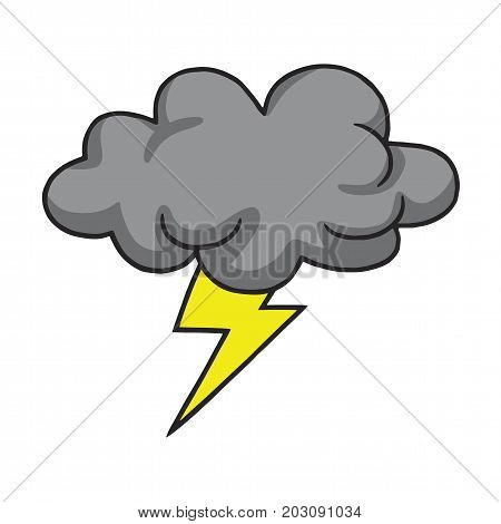 Thunderstorm Cloud Hand Drawn Vector Illustration Drawing