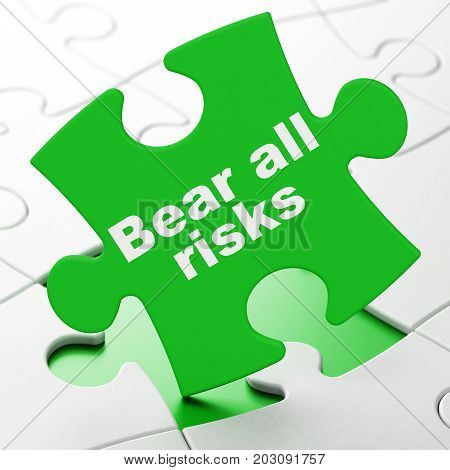 Insurance concept: Bear All Risks on Green puzzle pieces background, 3D rendering