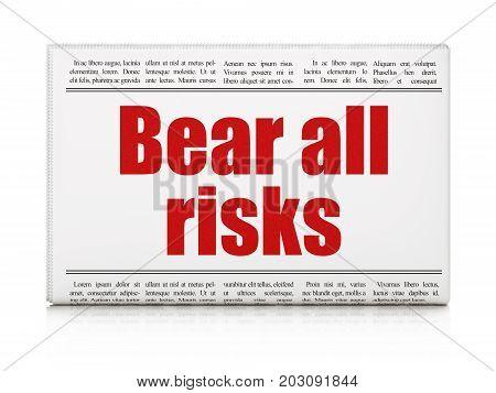 Insurance concept: newspaper headline Bear All Risks on White background, 3D rendering