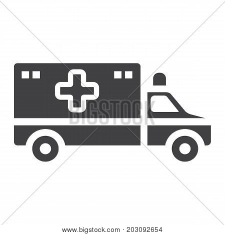 Ambulance glyph icon, medicine and healthcare, transport sign vector graphics, a solid pattern on a white background, eps 10.