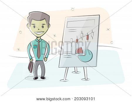 Businessman and white board. Presentation concept, seminar, training, conference. Character man in cartoon style