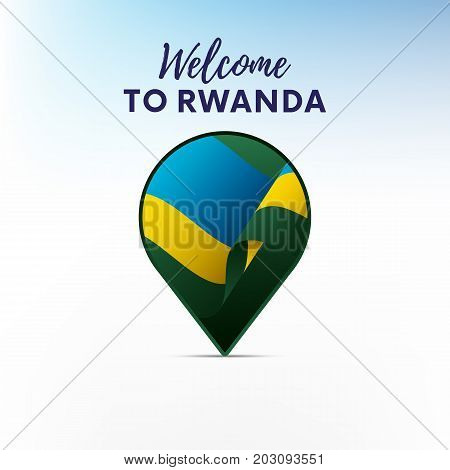 Flag of Rwanda in shape of map pointer or marker. Welcome to Rwanda. Vector illustration.