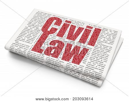 Law concept: Pixelated red text Civil Law on Newspaper background, 3D rendering