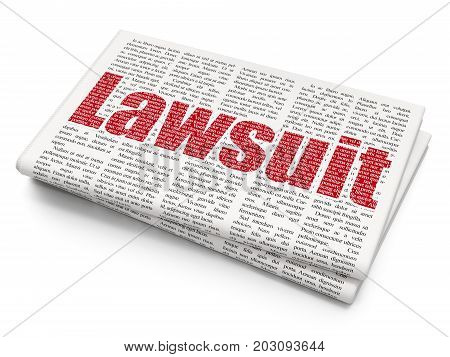 Law concept: Pixelated red text Lawsuit on Newspaper background, 3D rendering