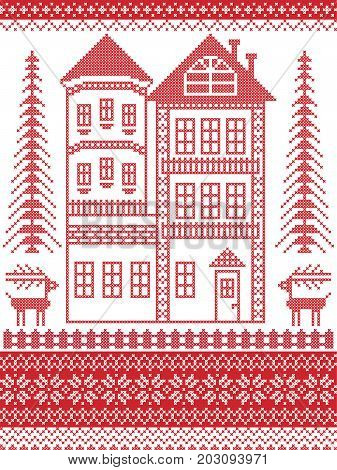 Nordic style and inspired by Scandinavian Christmas pattern illustration in cross stitch, red and white including gingerbread house with tower, snowflake, fence, decorative seamless ornate patterns