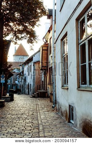 street view of downtown in Tallinn city, Estonia