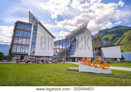 Trento, Italy, 14 Aug 2017 - The MuSe museum in Trento - Museum of Natural History designed by Renzo Piano