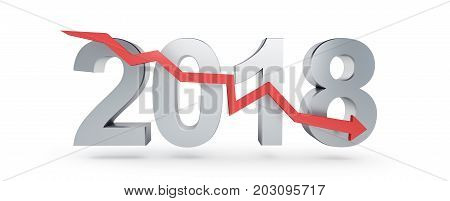 arrow down for 2018 on a white background 3D illustration 3D rendering