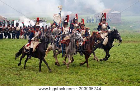 BORODINO MOSCOW REGION - SEPTEMBER 04 2016: Reenactors dressed as Napoleonic war soldiers at Borodino battle historical reenactment in Russia. Color photo.