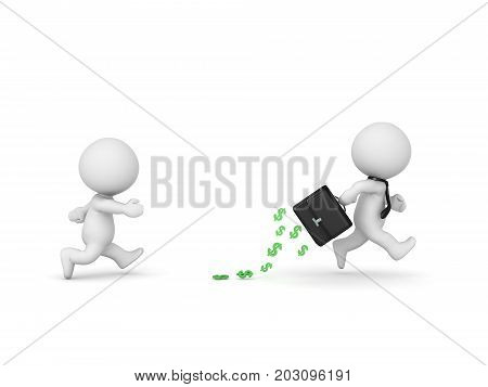 3D Character Running Away With A Briefcase With Money