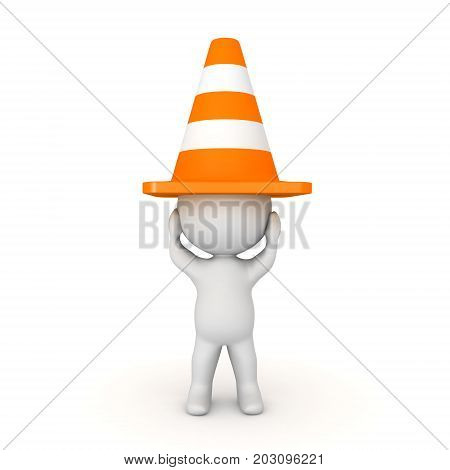 3D Character with orange traffic cone on his head. Image depicting emotional distress