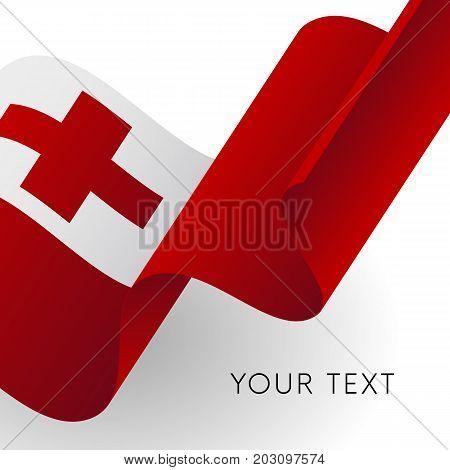 Tonga flag. Patriotic design. Waving flag. Vector illustration.
