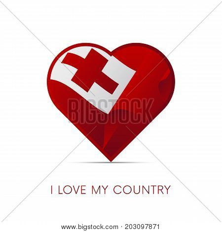 Tonga flag in heart. I love my country. sign. Vector illustration.