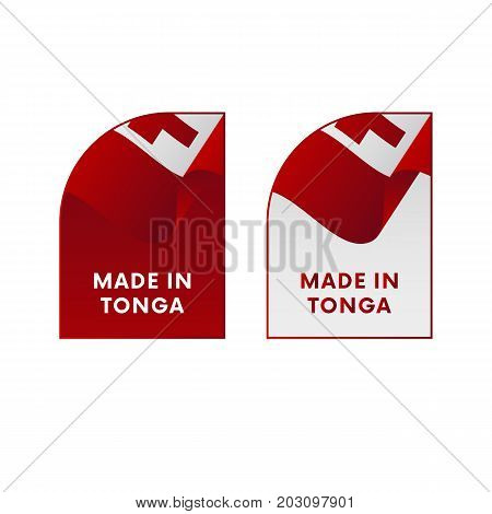Stickers Made in Tonga. Waving flag. Vector illustration.